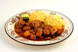 [tochitura mamaliga] Slowly cooked mixed meat stew with polenta